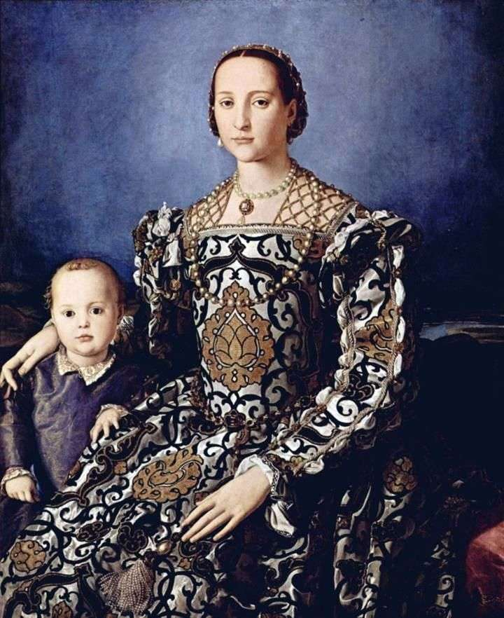 Portrait of Eleanor of Toledo with his son Giovanni Medici by Agnolo Bronzino