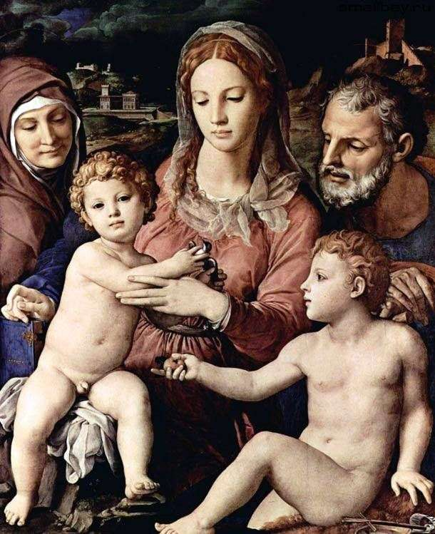 Holy Family with Saint Anne and John the Baptist   Agnolo Bronzino