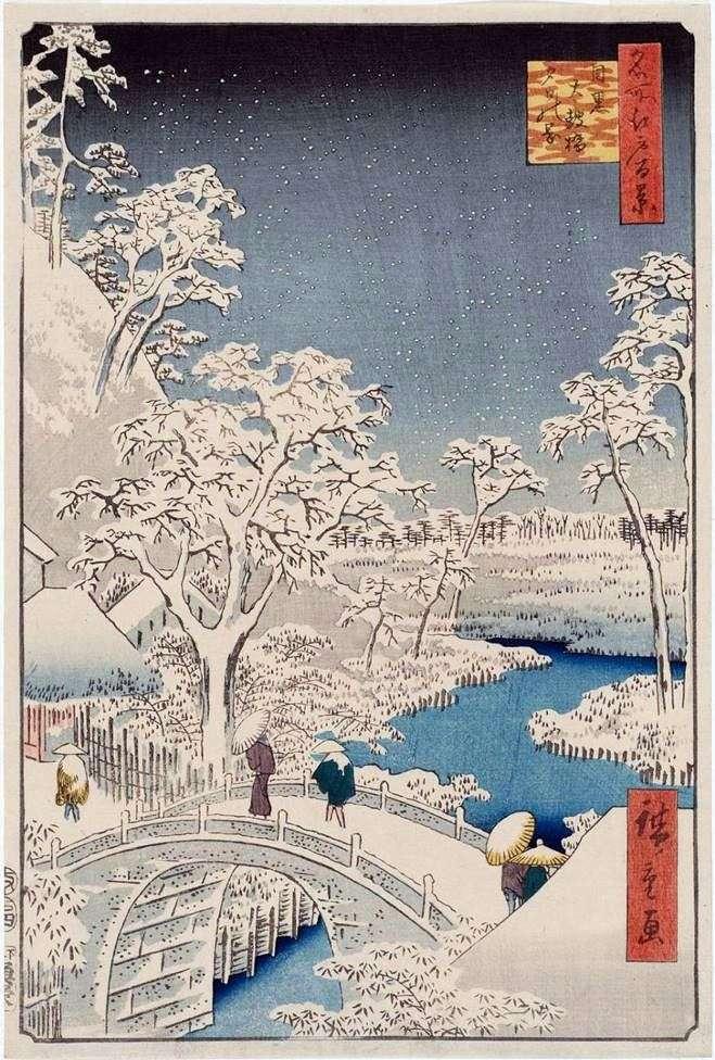 The Taikobashi Bridge and the Yukhinooka Hill in Meguro by Ando Hiroshige