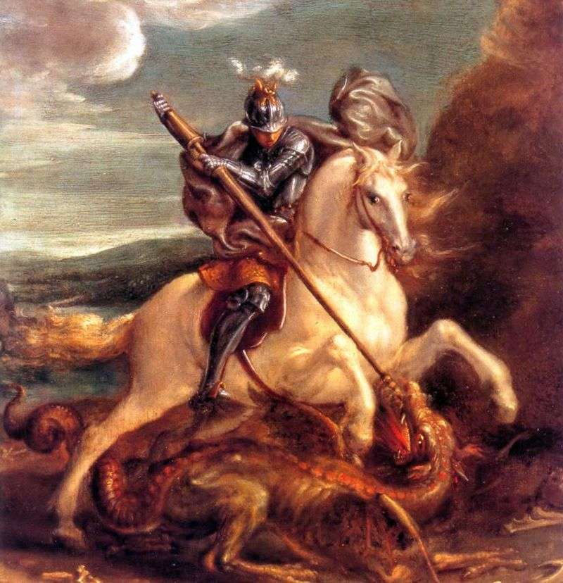 St. George strikes the dragon by Hans von Aachen