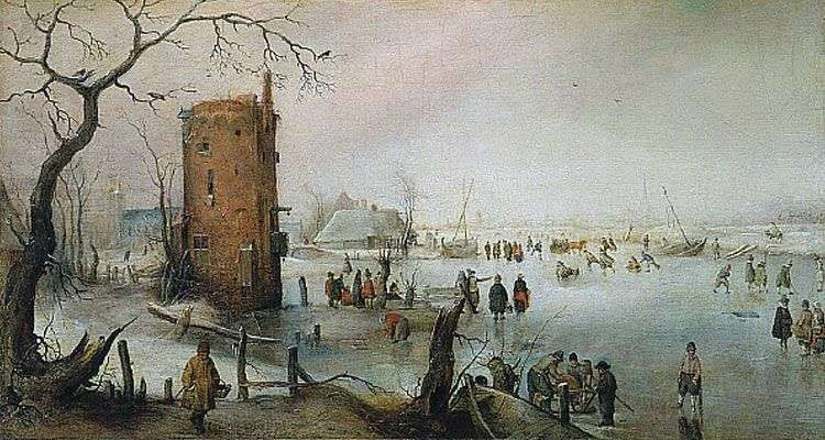 Winter landscape with a tower by Hendrik Averkamp