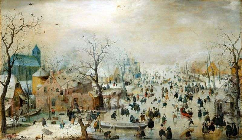 Winter landscape with ice skating by Hendrik Averkamp
