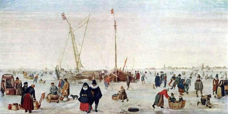 Winter landscape with skaters by Hendrik Averkamp