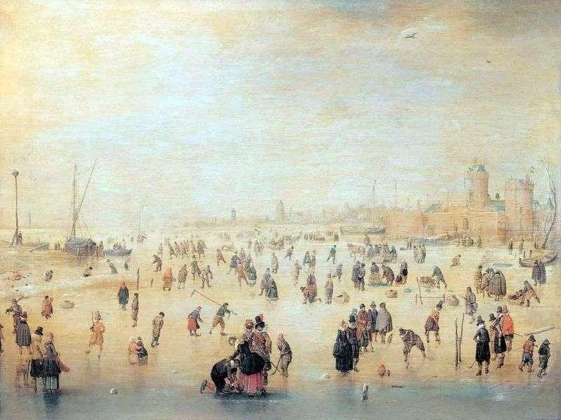 Skating outside the city walls by Hendrik Averkamp