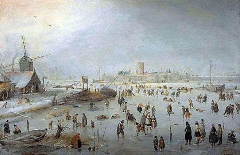 On the ice outside the city by Hendrik Averkamp