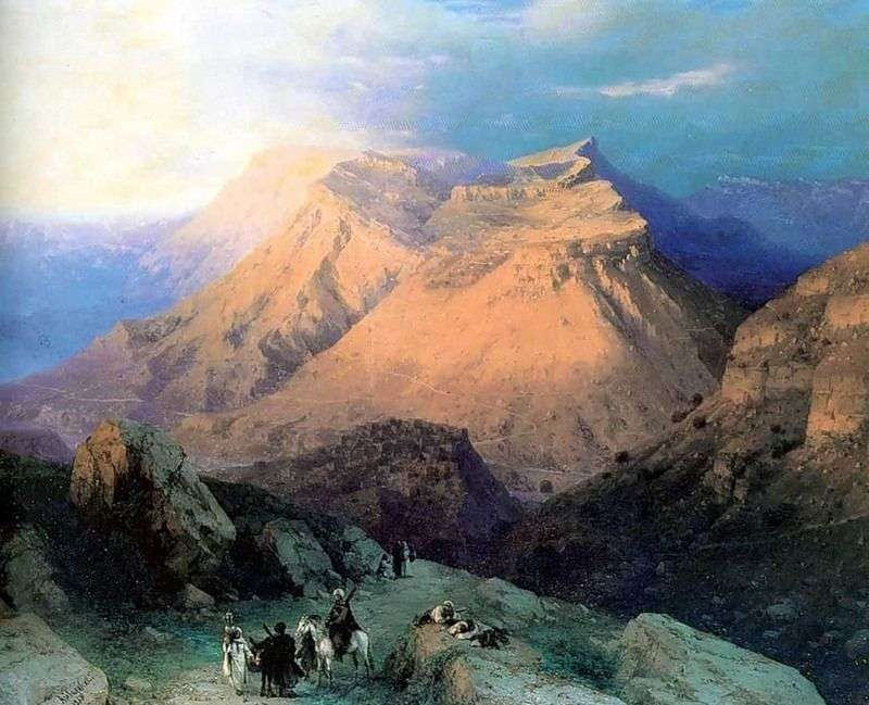 Aul Gunib in Dagestan. View from the east   Ivan Aivazovsky