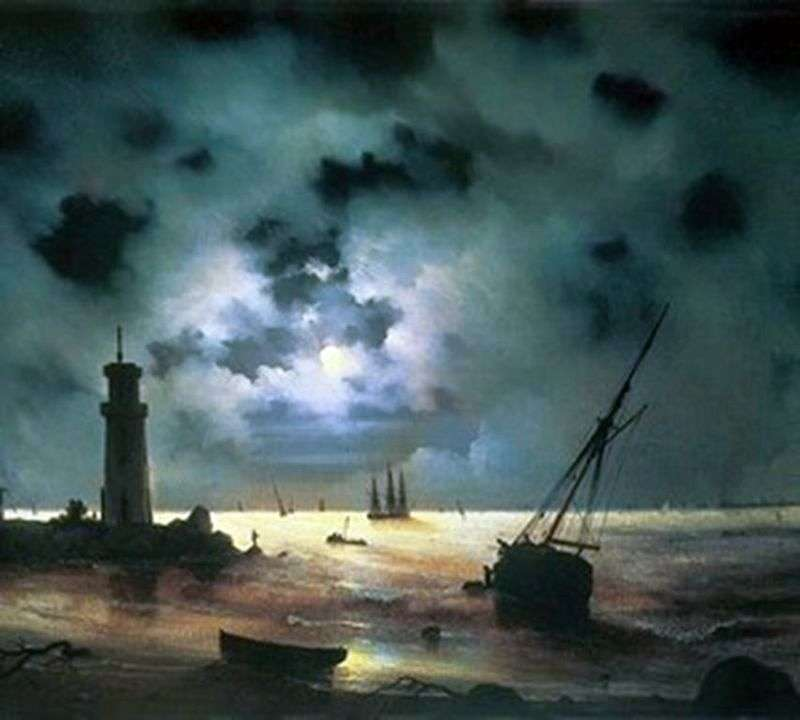 Coast of the sea at night. At the lighthouse by Ivan Aivazovsky