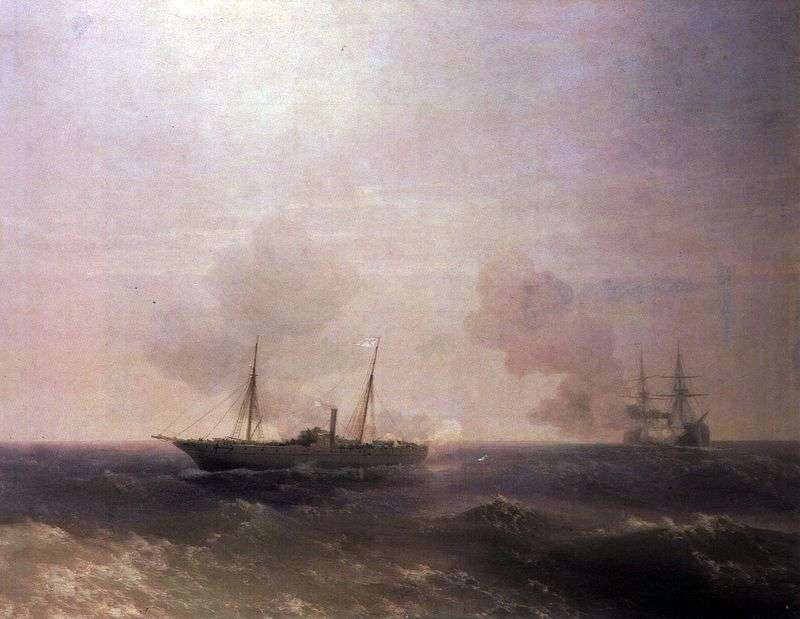 Combat ship Vesta with the Turkish battleship Fehti Bulend by Ivan Aivazovsky