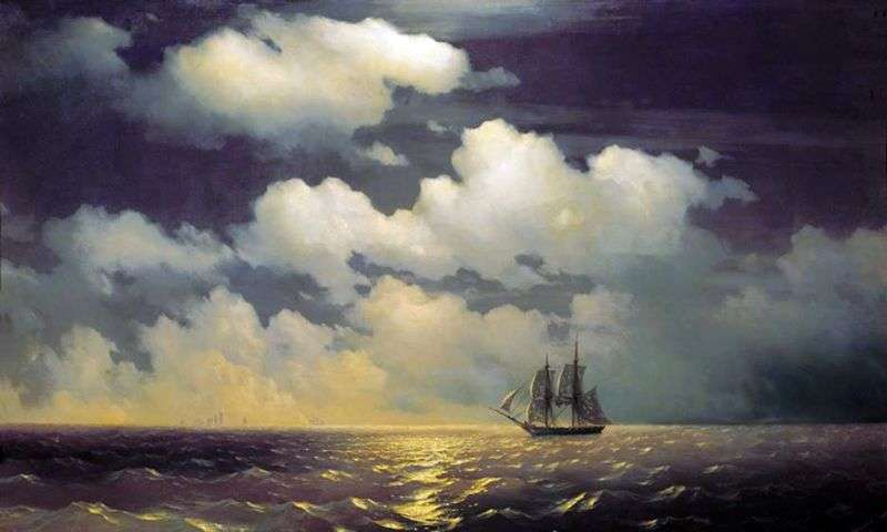 Brig Mercury after the victory over the two Turkish courts by Ivan Aivazovsky