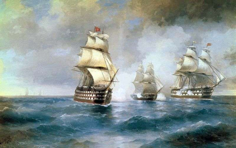 Brig Mercury, attacked by two Turkish courts by Ivan Aivazovsky