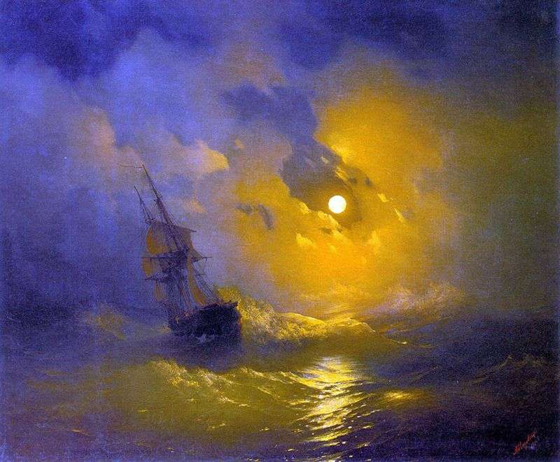 Storm on the sea at night by Ivan Aivazovsky