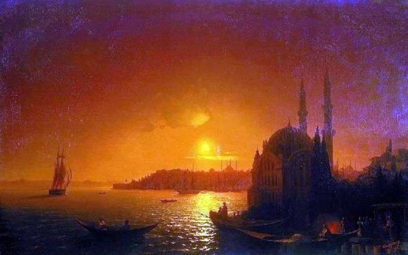 View of Constantinople under moonlight by Ivan Aivazovsky