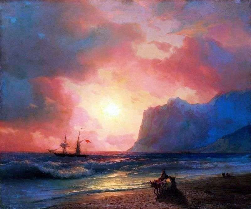 Sunset at the sea by Ivan Aivazovsky