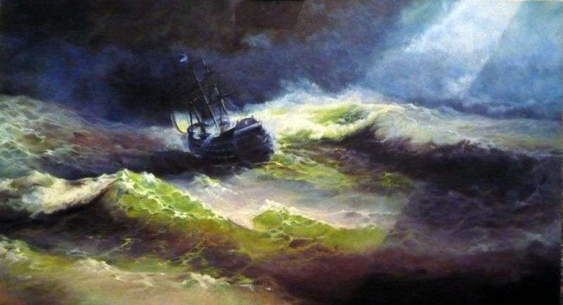 The ship Empress Maria during the storm by Ivan Aivazovsky