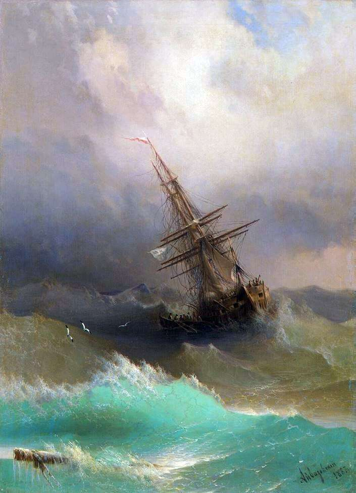 Ship among the stormy sea by Ivan Aivazovsky