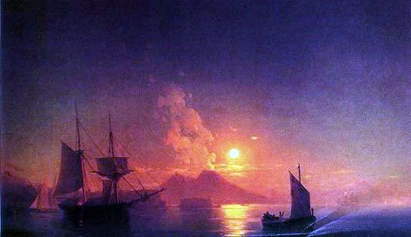 Neapolitan Bay in the moonlit night by Ivan Aivazovsky
