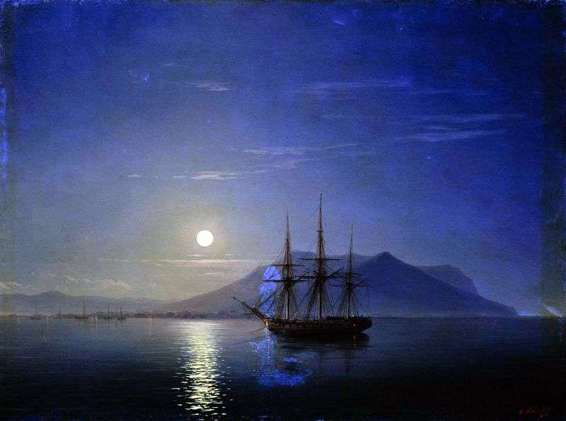 Sailboat off the coast of Crimea in the moonlit night by Ivan Aivazovsky