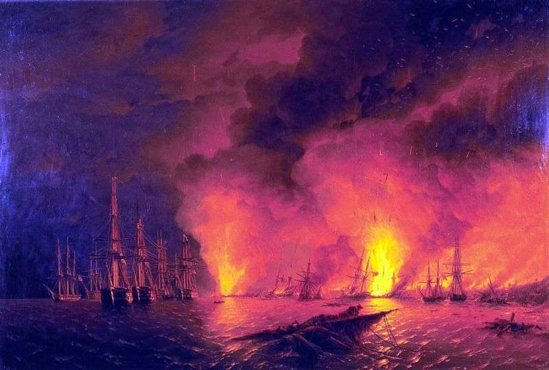 Sinop fight at night by Ivan Aivazovsky