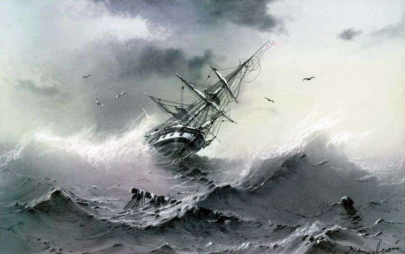 Sinking ship by Ivan Aivazovsky
