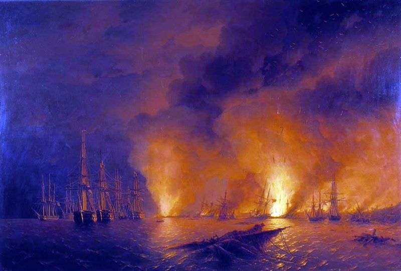 Chesme battle by Ivan Aivazovsky
