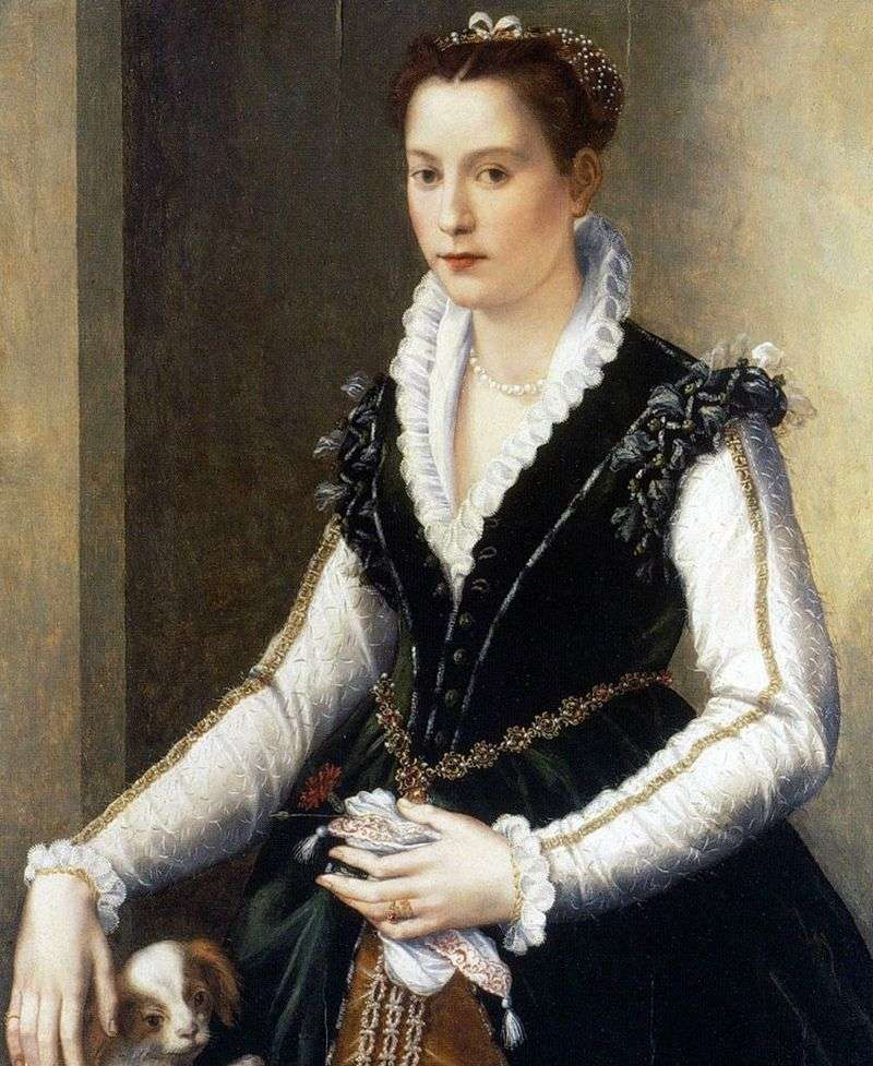 Isabella Medici with a dog by Alessandro Allori