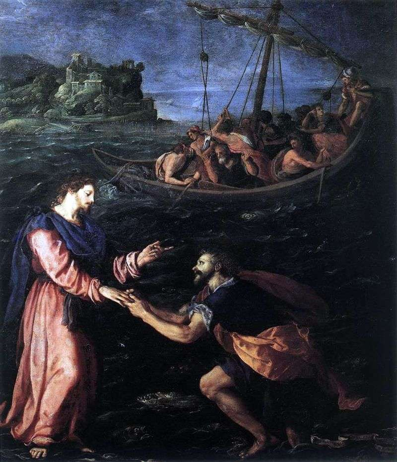 St. Peter walking on the water by Alessandro Allori