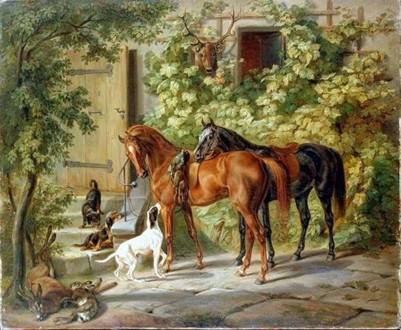 The horses at the porch by Adam Albrecht