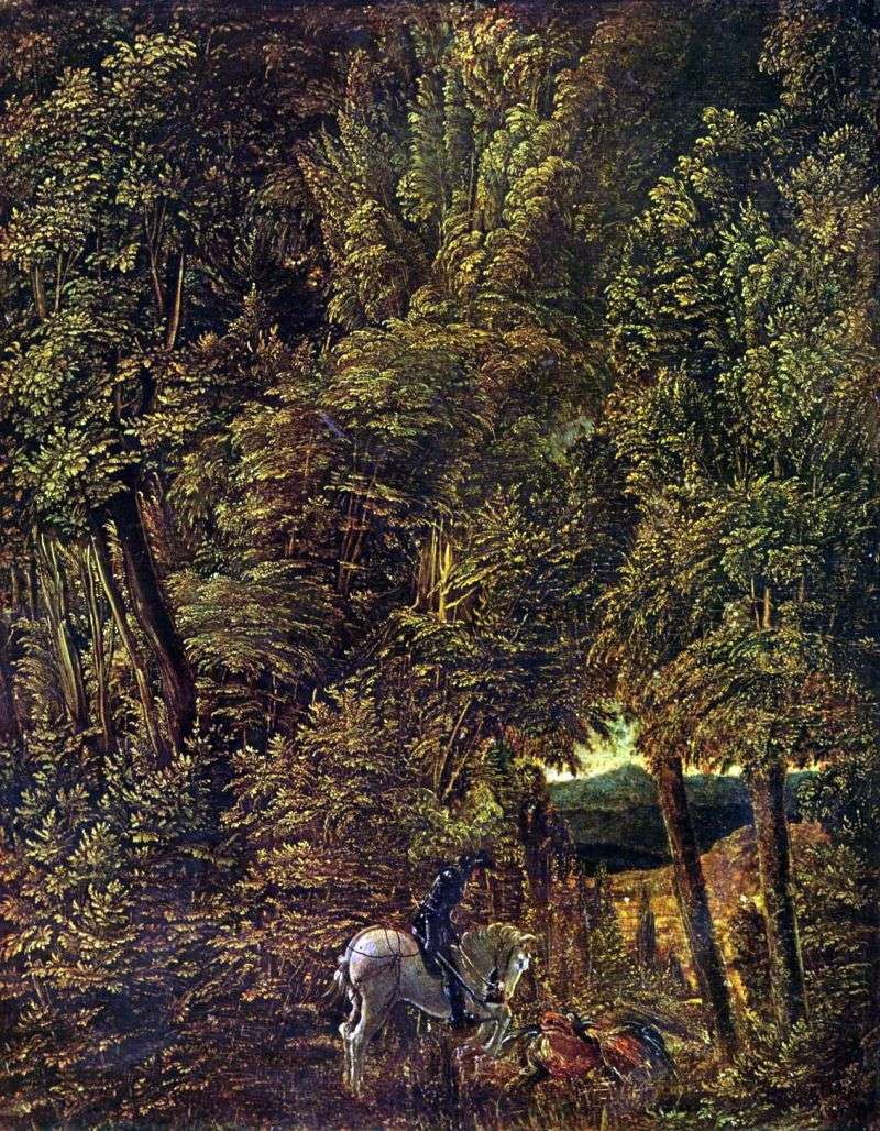 Forest Landscape with St. George, striking the dragon by Albrecht Altdorfer