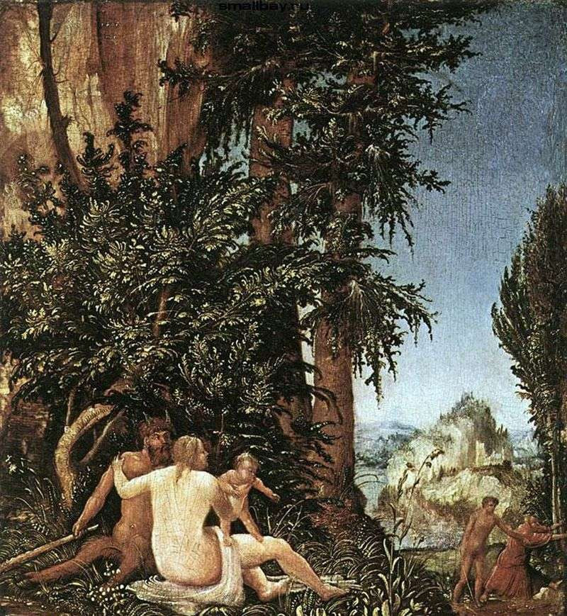 Landscape with the family of the satyr by Albrecht Altdorfer