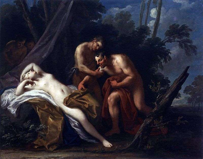 Satyr and the sleeping nymph by Jacopo Amigoni