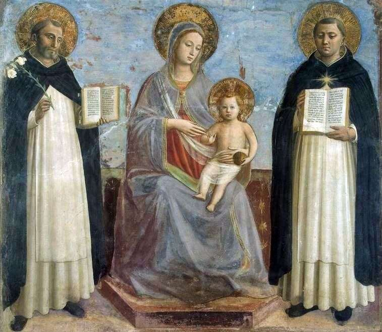 Madonna with the Child, Saint Dominic and St. Thomas Aquinas by Fra Beato Angelico