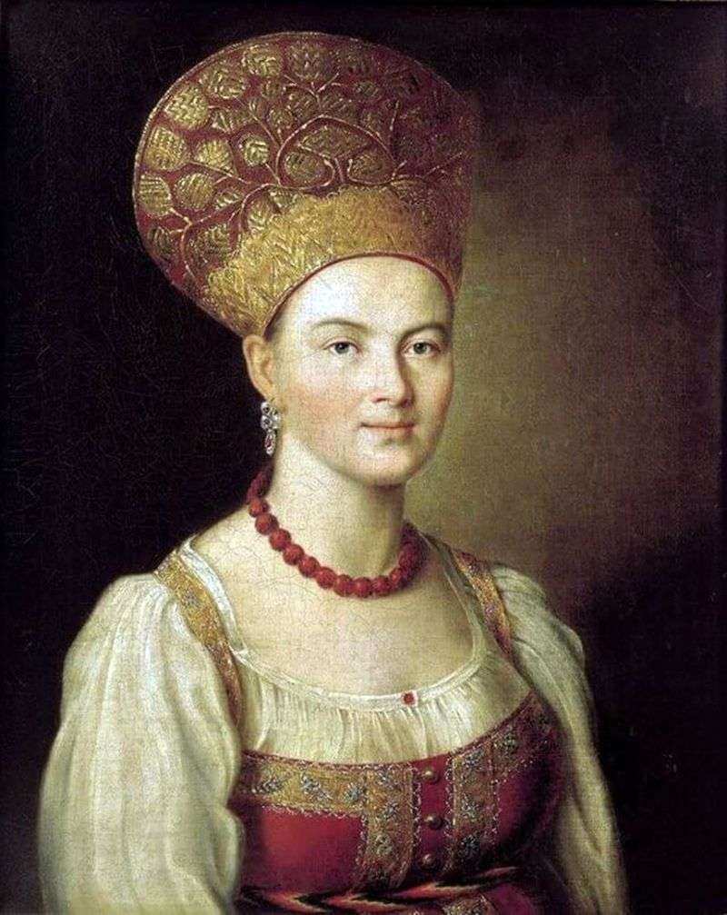 Portrait of an unknown peasant woman in a Russian costume by Ivan Argunov