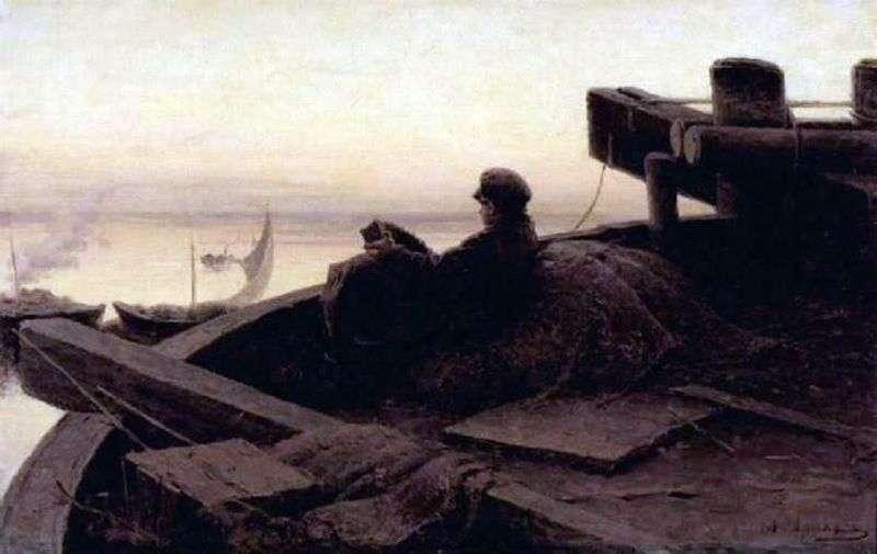 On the Volga by Abram Arkhipov