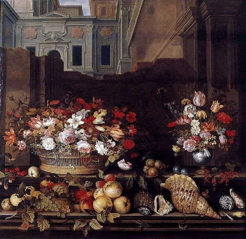 Still Life with Flowers, Fruits, and Shells by Balthasar van der Ast