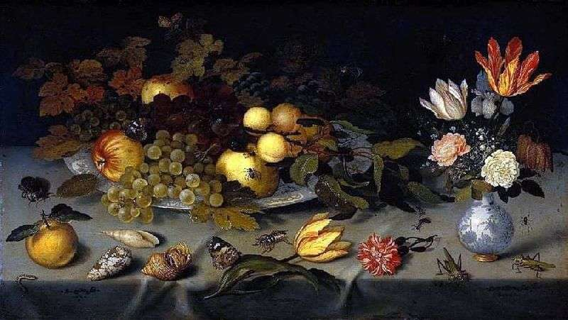Flowers and fruits by Baltazar van der Ast