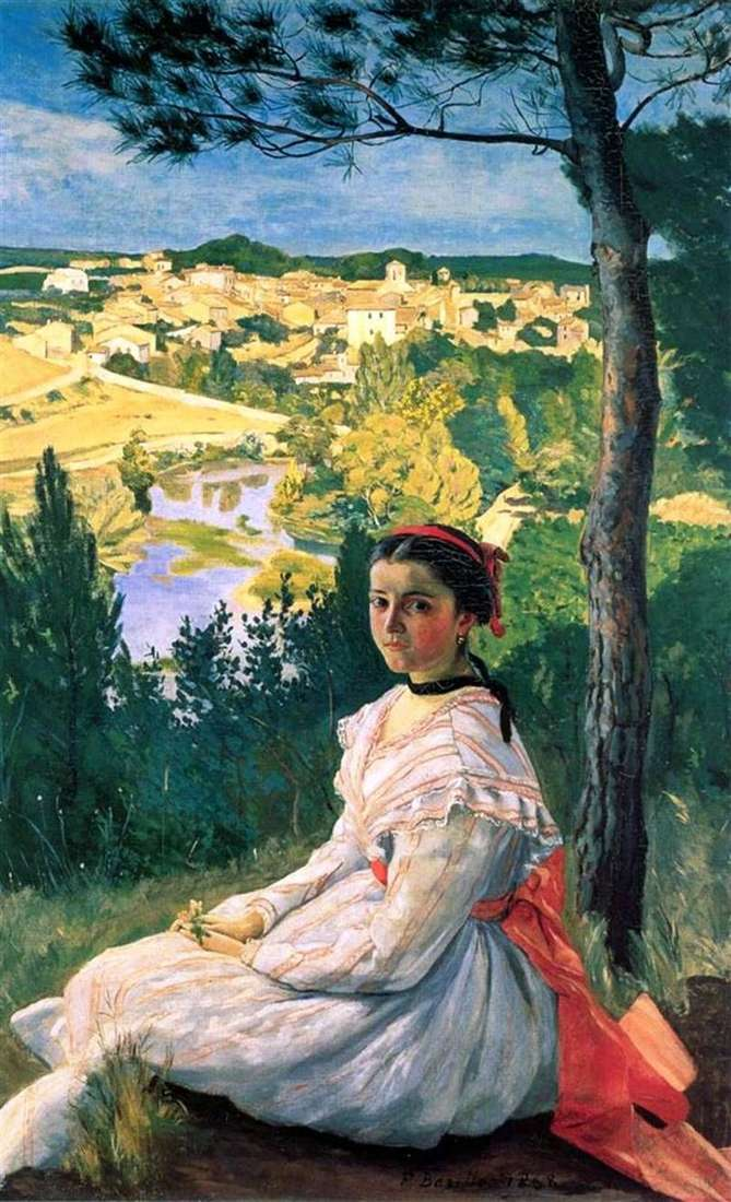 View of the village of Castelnua Les les by Frederic Basile