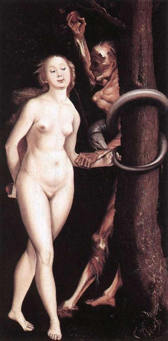 Eva, the snake and death by Hans Baldung