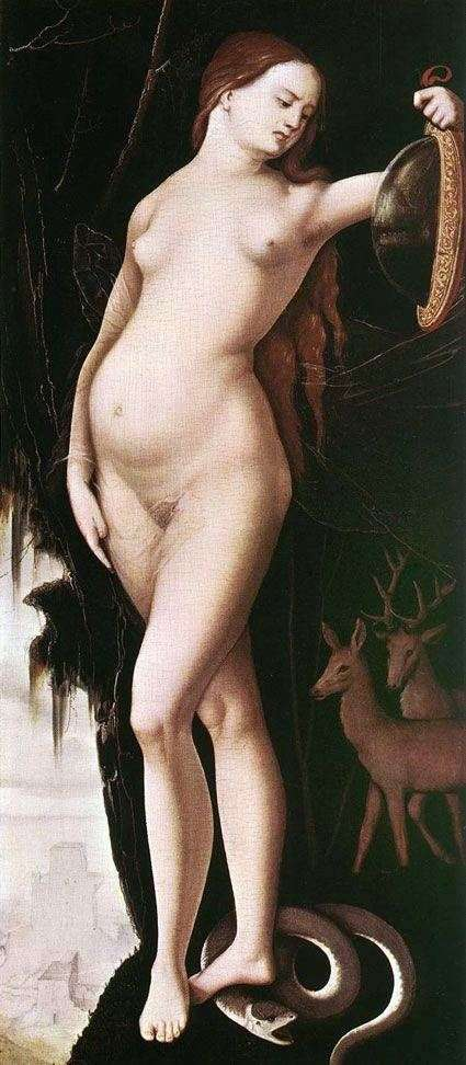 A woman with a mirror and a snake by Hans Baldung