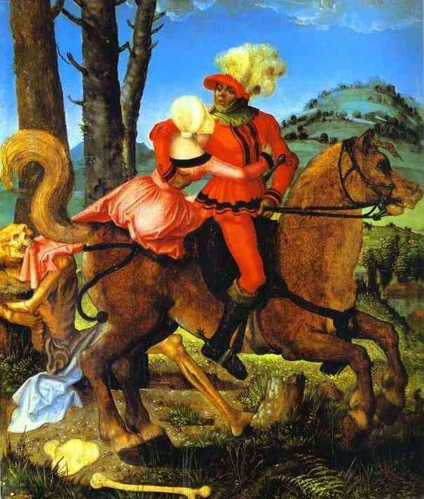 Knight, young girl and death by Hans Baldung