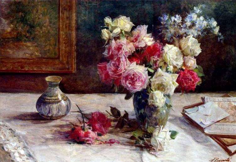 Roses in a vase and a few books on the table by Licinio Barzanti