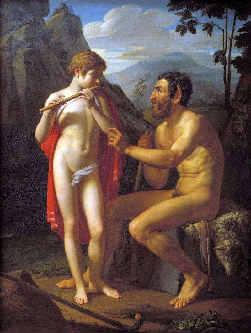 Faun Marsiy teaches the young man Olympia to play the pipe by Petr Basin