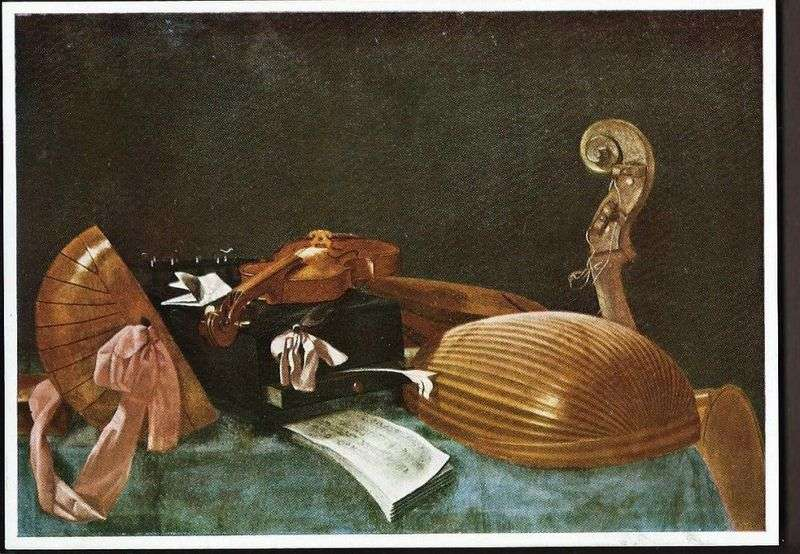Still life with musical instruments by Evaristo Baskenis