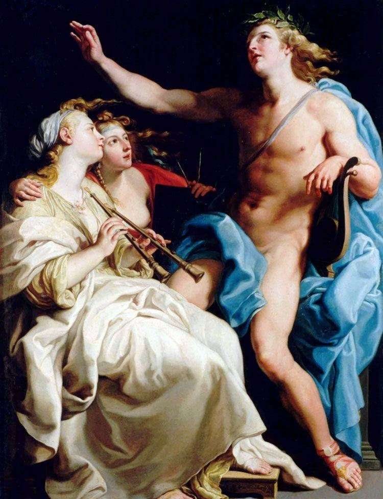 Apollo and two muse by Pompeo Batoni