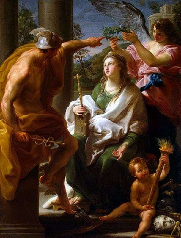 Mercury, crowning Philosophy, Mother of the Arts by Pompeo Batoni