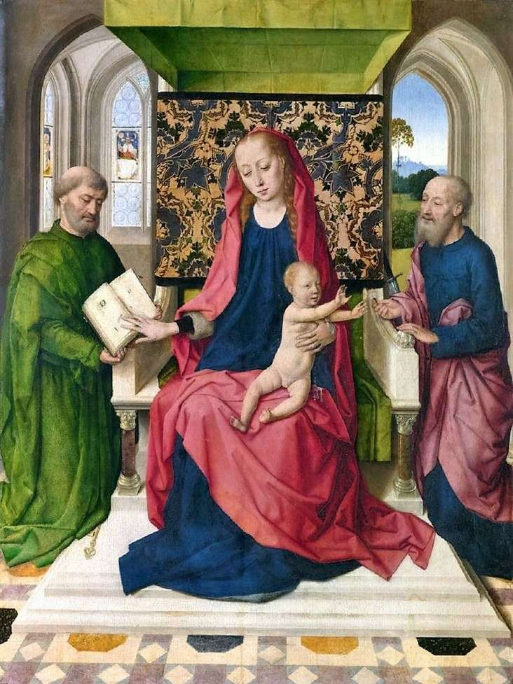 Madonna and Child on the Throne with Saints Peter and Paul by Dirk Bouts
