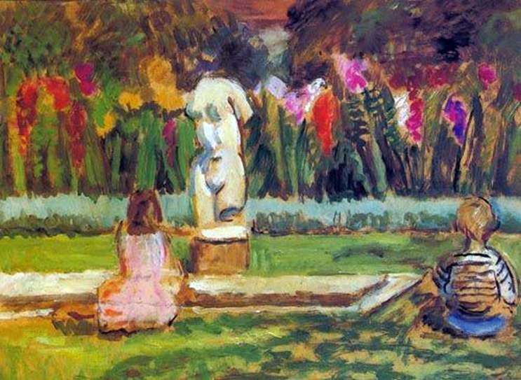 Henrietta and Julian at the garden pond in Charleston by Vanessa Bell
