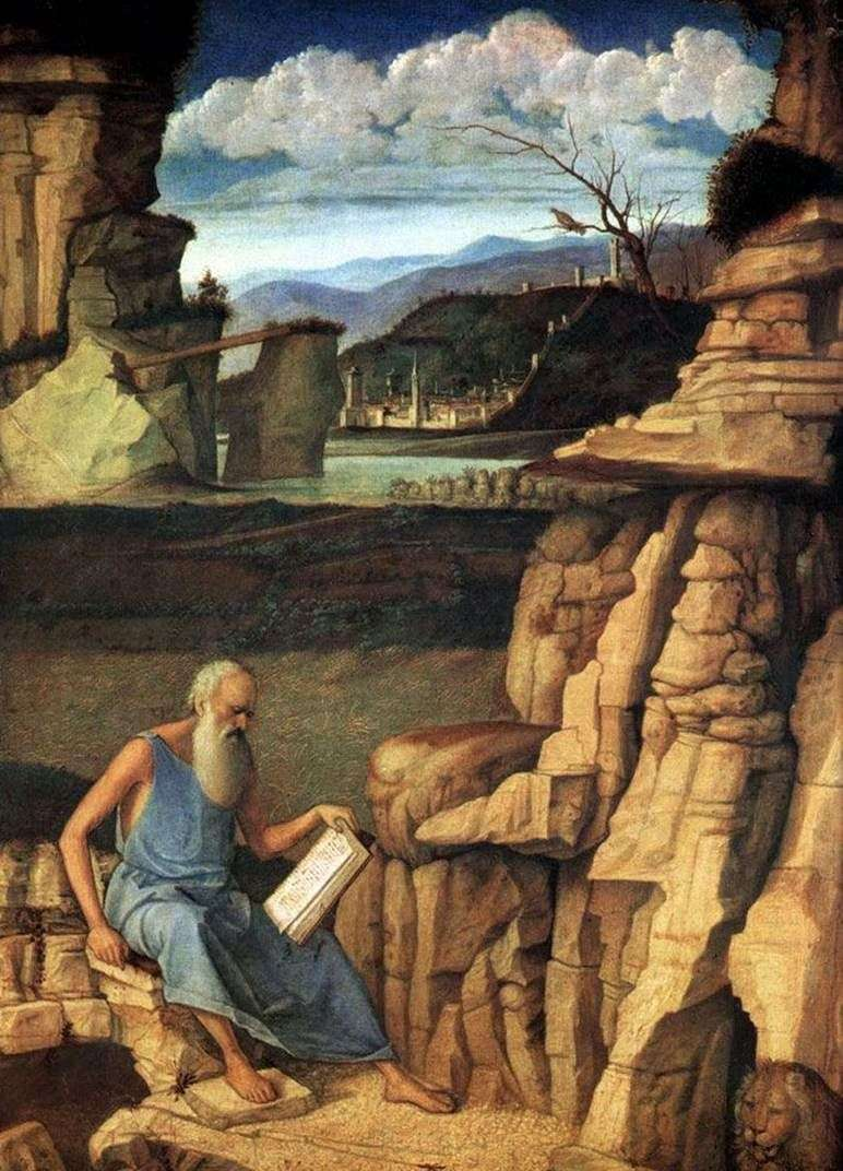 St. Jerome reading in nature by Giovanni Bellini