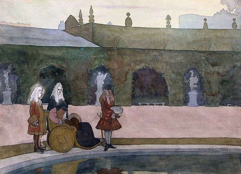 Versailles, Louis XIV feeds fish by Alexander Benois