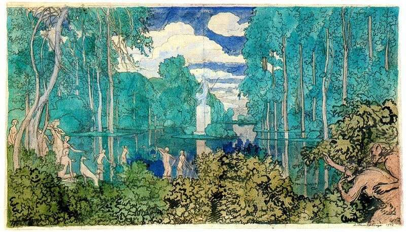 Pond in the park by Alexander Benois