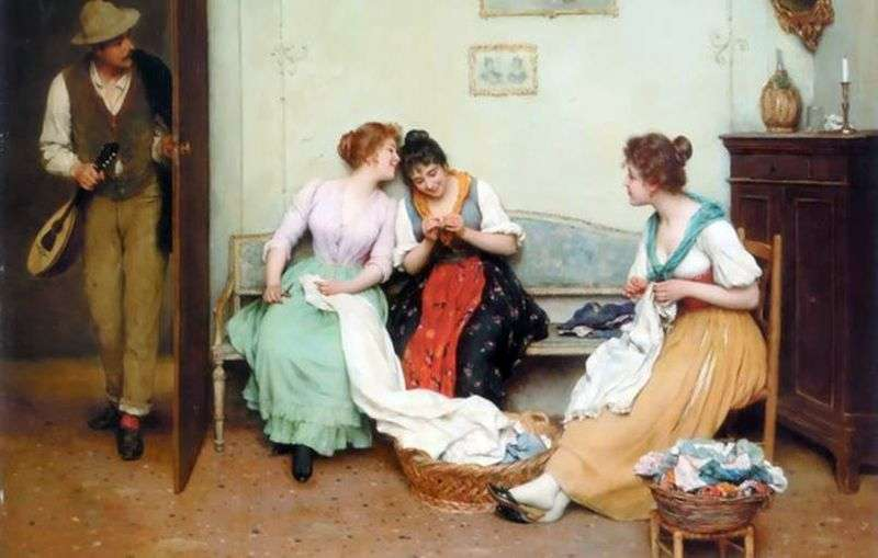 Friendly gossip by Eugene de Blaas